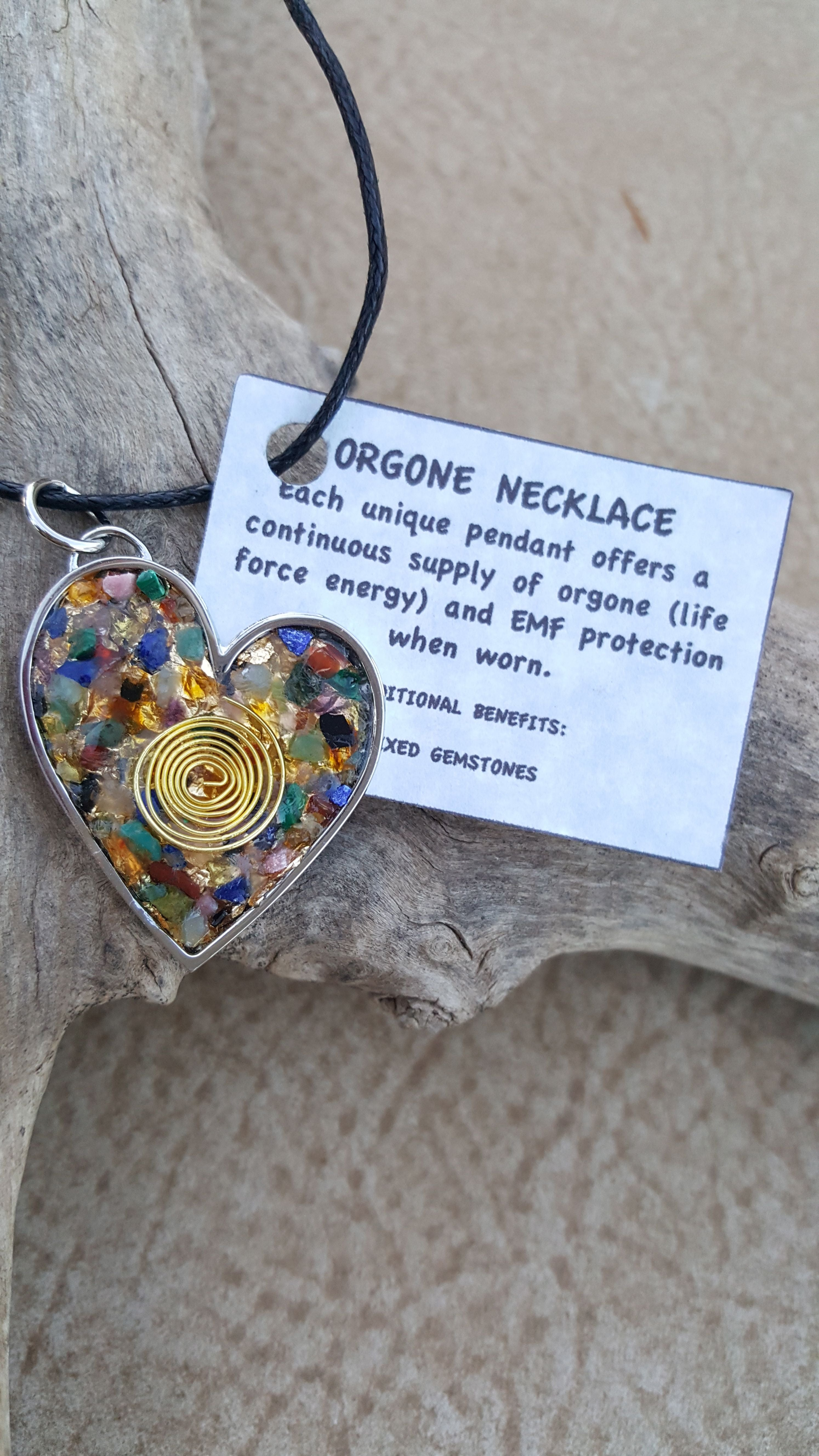 Chi Enhancing Necklace — Mixed Gemstone Heart with Spiral