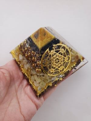 Chi Enhancing Pyramid — Large Gold Hematite with Metatron Symbol