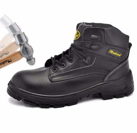 Oakbay Mens' Steel Toe Boots Black Apparel > Male > Shoes > Work Shoes Oak Bay Shoes 4 Black
