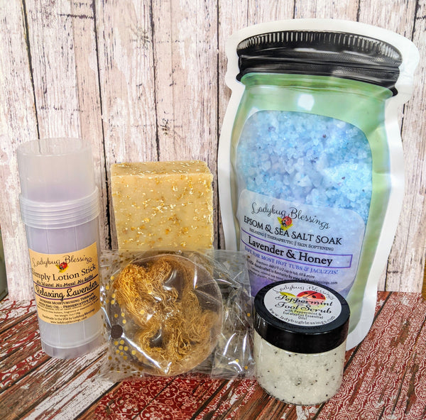 Relaxation Gift Sampler in Inspirational Linen Gift Bag