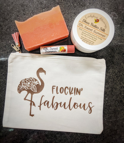 "Summer Luxuries Zipper Pouch Sets - ""Flockin' Fabulous!"""