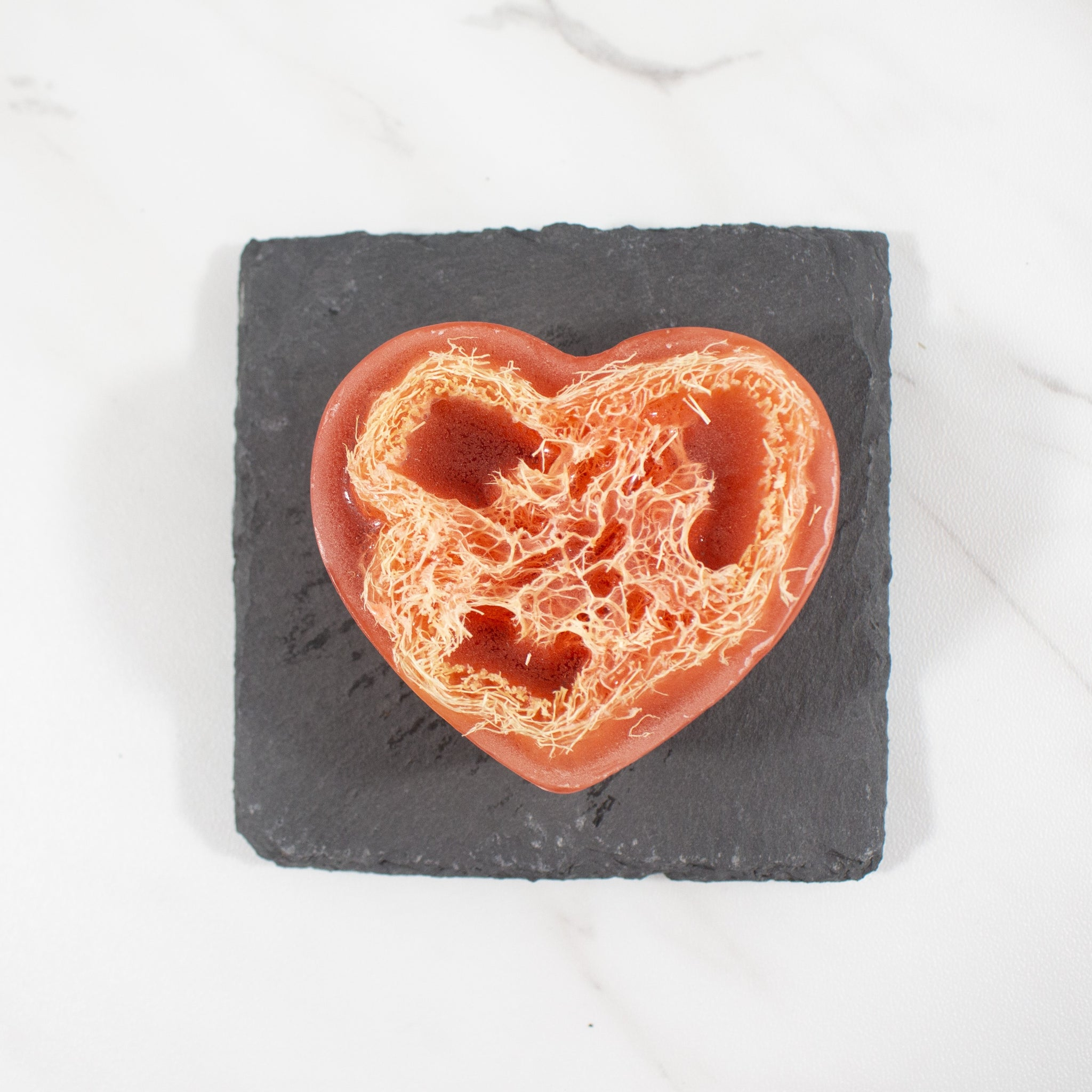 heart shaped loofah soap