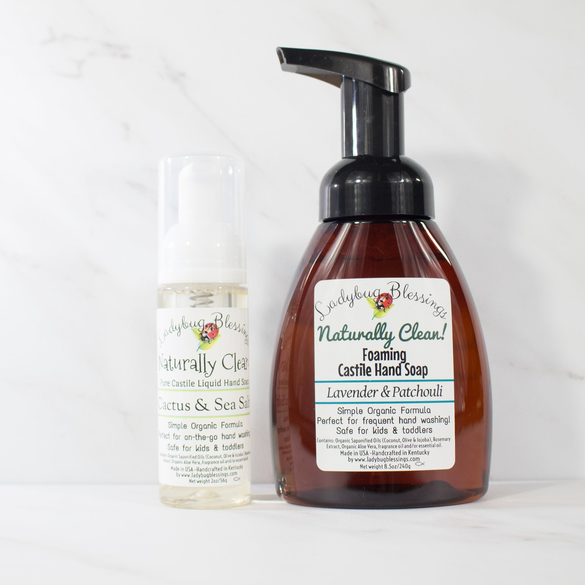 large and small foaming castile soap