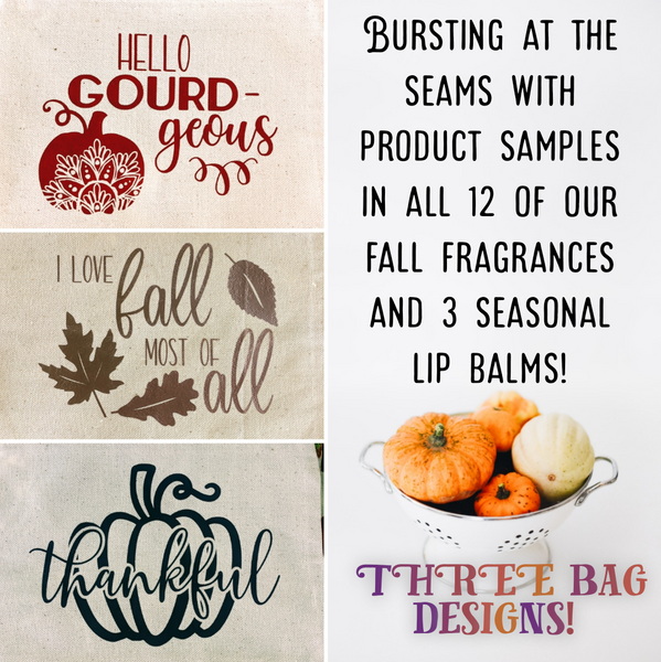 Fall Sample Extravaganza Makeup Bags // 3 Designs - 15 Products!