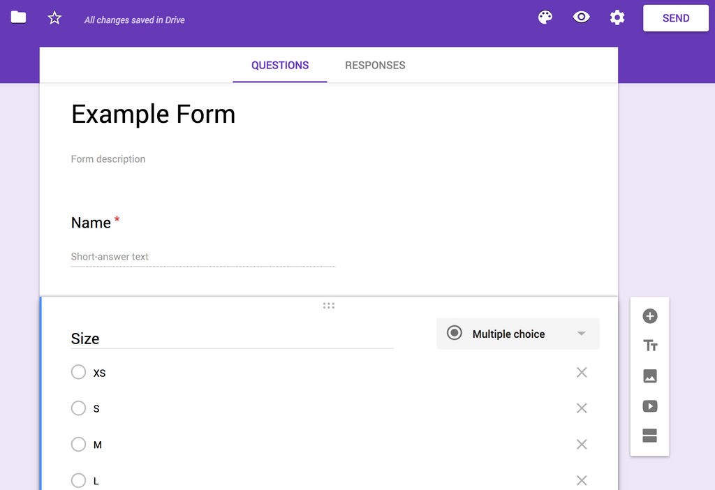 T-Shirt Sizes with Google Forms