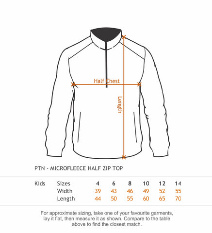 PTN-K Youth Polar Fleece Half Zip Jackets size chart