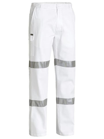 BP6808T Bisley 3M Taped Cotton Drill White Work Pant - Stout