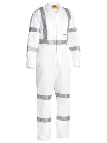 BC6806T Bisley 3M Taped White Drill Overalls - Stout