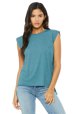 Bella+Canvas Womens 8804 Flowy Muscle Tee with Rolled Cuff