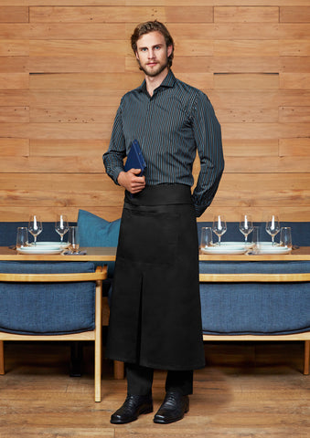 BA93 Continental Style Full Length Apron - Black