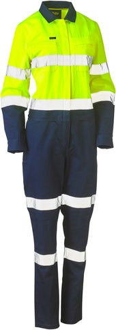 BCL6066T Bisley Womens Taped Hi Vis Cotton Drill Overalls