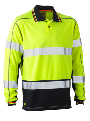 BK6219T Bisley Taped Two Tone Hi Vis Polyester Mesh Long Sleeve Polo Shirt