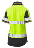 BKL1225T Bisley Womens Short Sleeve Taped Two Tone Hi Vis V-Neck Polo