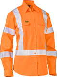 BL6166XT Bisley Womens Taped X Back Lighweight Hi Vis Drill Rail Shirt