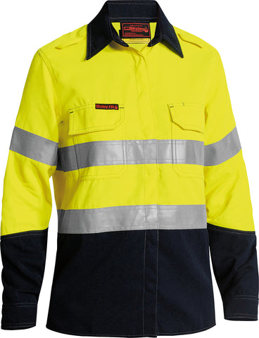 BL8098T Bisley Womens Tencate Tecasafe® Plus 580 Taped Two Tone Hi Vis Lightweight FR Vented Long Sleeve Shirt