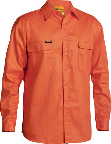 BS6339 Bisley Hi Vis Mens Drill Shirt - Long Sleeve