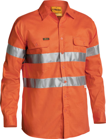 BT6482 Bisley Hi Vis 3M Reflective Tape Mens Drill Long Sleeve - Shirt