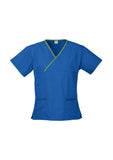 H10722 Contrast Ladies Crossover Scrubs Top