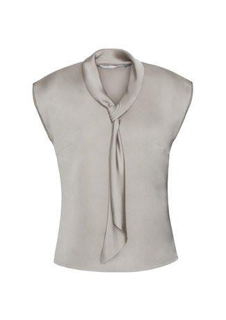 S314LS BizCollection Shimmer Ladies Tie Neck Top