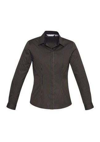 S415LL BizCollection Reno Ladies Stripe Long Sleeve Shirt