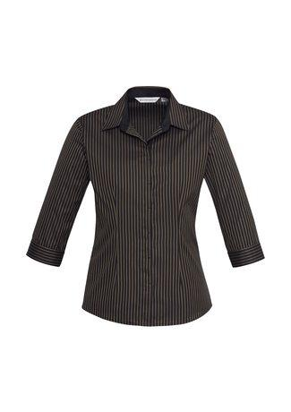 S415LT BizCollection Reno Ladies Stripe ¾ Sleeve Shirt