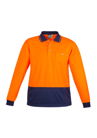 ZH232 Hi Vis Basic Spliced Long Sleeve Polo