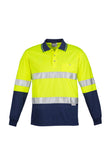 ZH235 Hi Vis Spliced Long Sleeve Polo - Hoop Taped