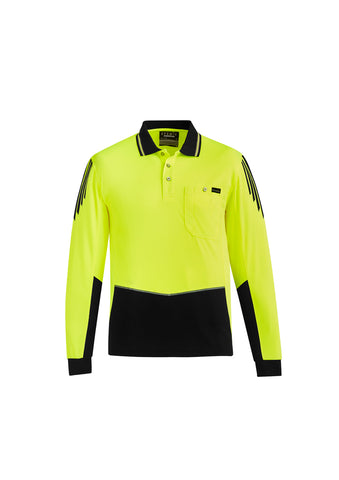 Syzmik ZH310 Hi-Vis Flux Longsleeve Polo Shirts Yellow Black Front