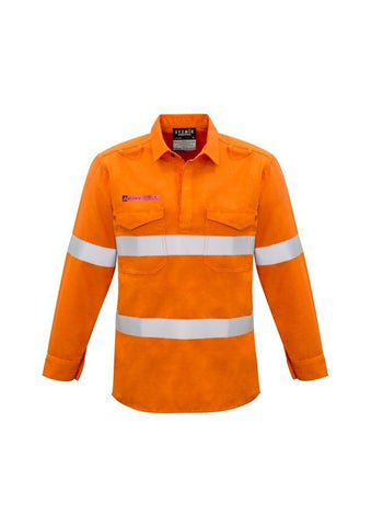 ZW134 FR Closed Front Hooped Taped Shirt Hi Vis