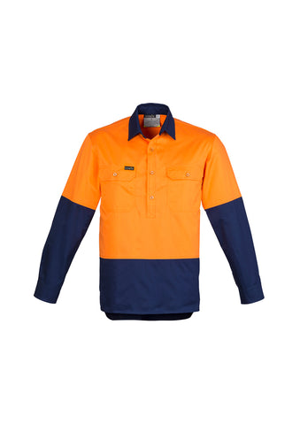 Syzmik ZW560 Closed Front Long Sleeve 100% Cotton Work Shirts | UPF 50, HI Vis Day orange navy