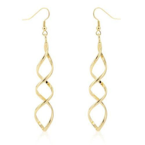 Golden Drop Twisted Loop Earrings