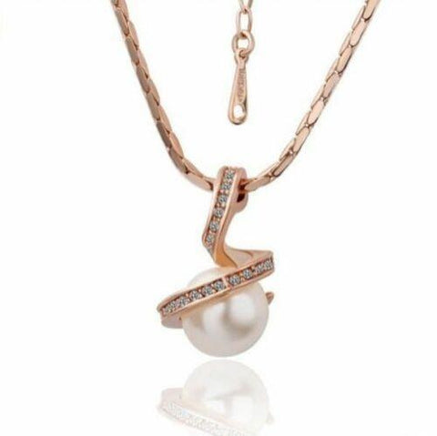 Rose Gold Twisted Pearl Pendant Necklace