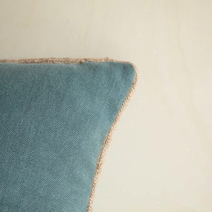 coussin rectangle deco bleu canard lin jute