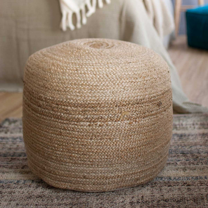 pouf jute naturelle decoration