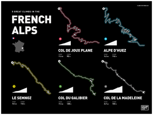 French Alps Road Climbs | Art Print - TrailMaps.co.uk