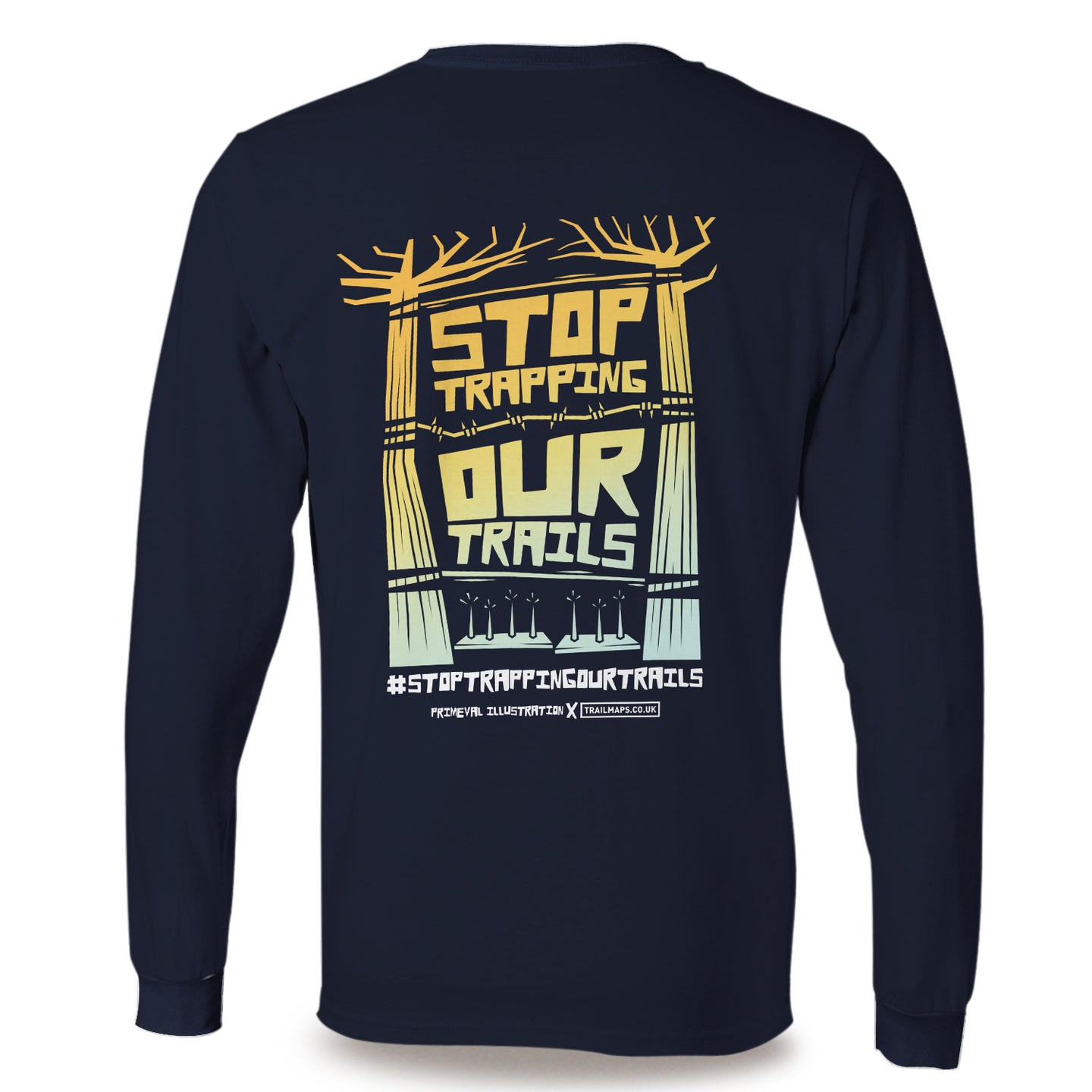 Stop Trapping Our Trails | Navy Long Sleeve T-Shirt - TrailMaps.co.uk