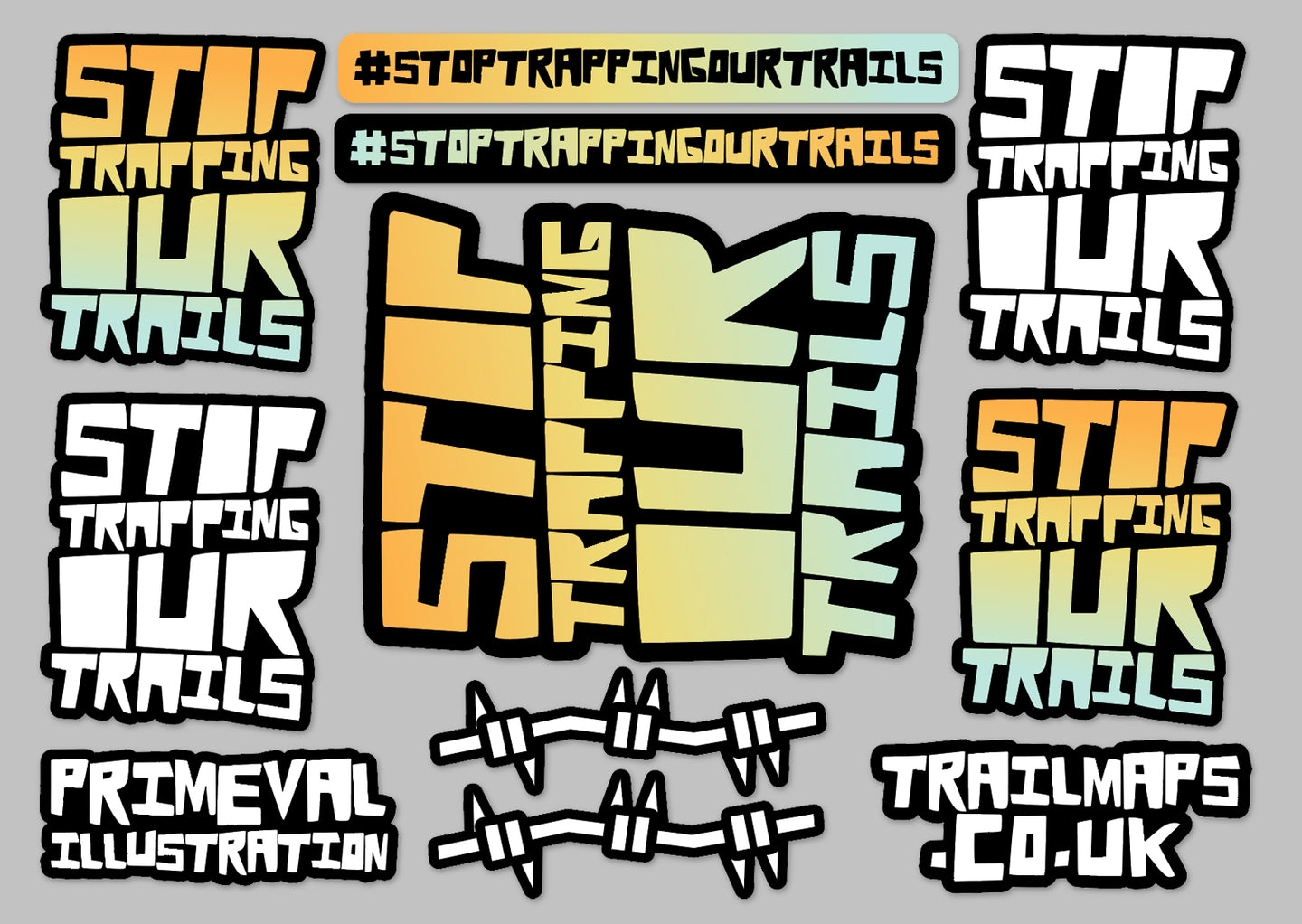 Stop Trapping Our Trails | Sticker Pack - TrailMaps.co.uk