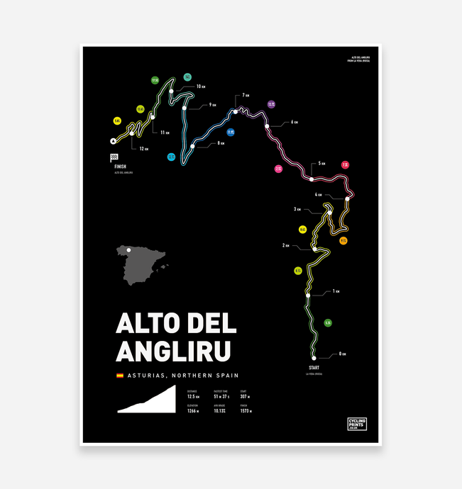 Alto Del Angliru Art Print - TrailMaps.co.uk