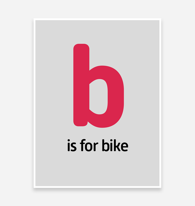 B is for Bike Art Print - TrailMaps.co.uk