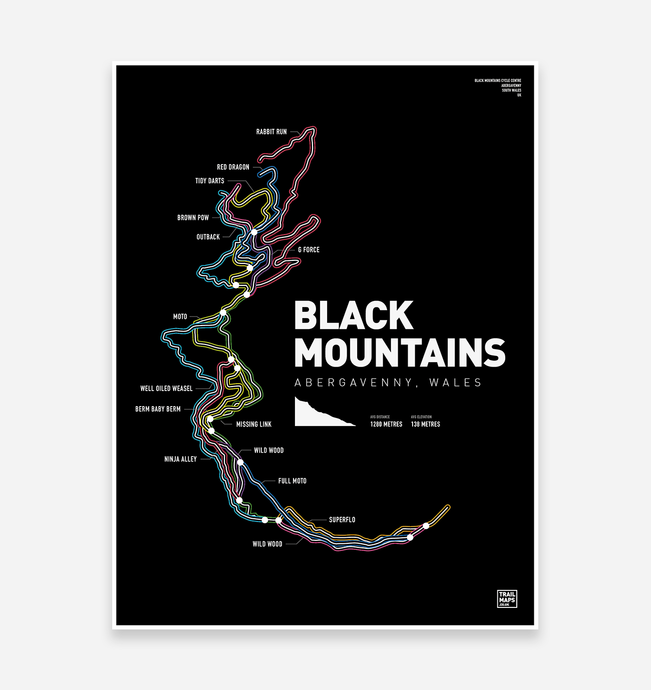 Black Mountains Art Print - TrailMaps.co.uk