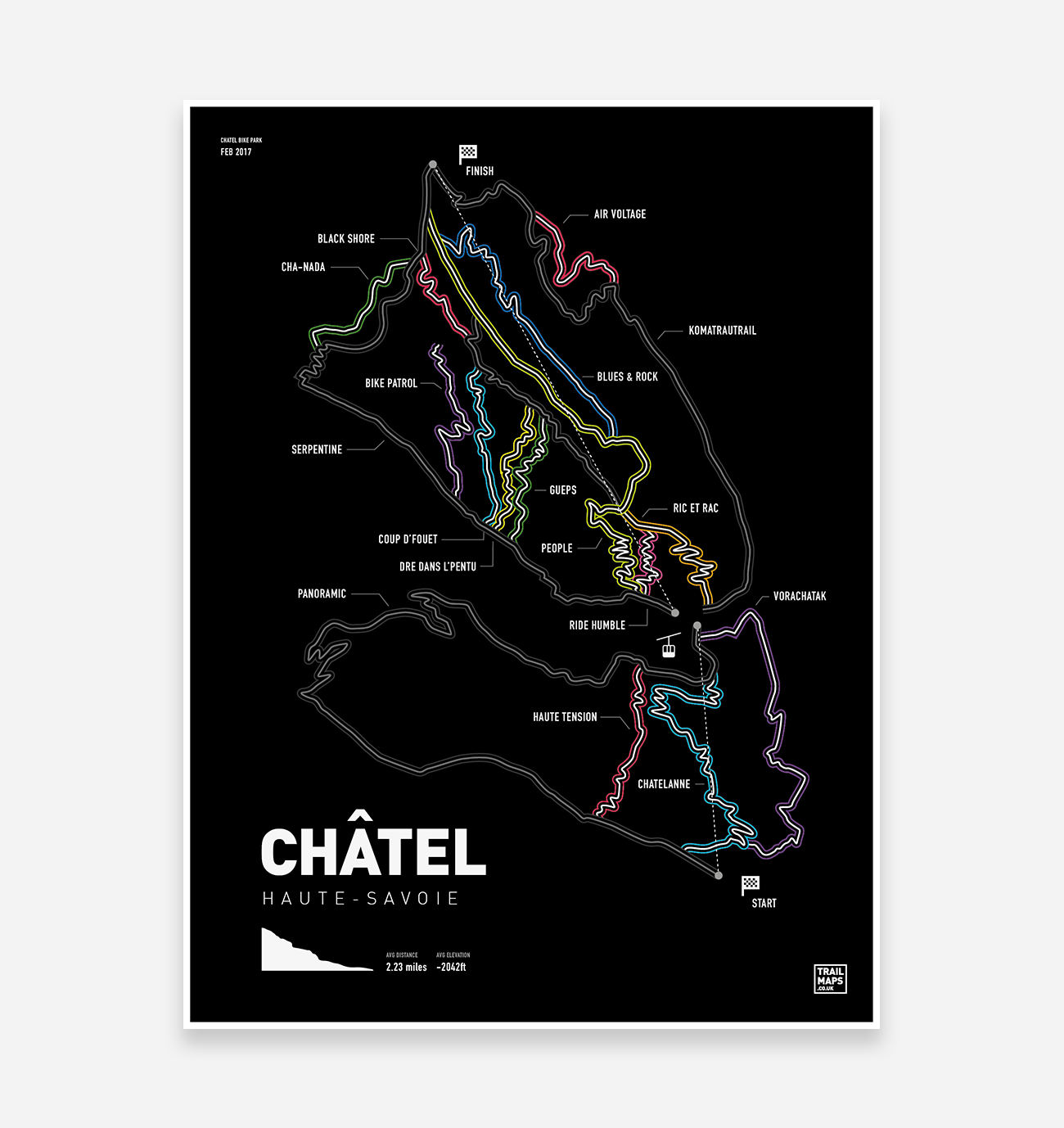 Châtel Trail Map Art Print - TrailMaps.co.uk