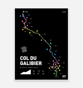 Col Du Galibier Art Print - TrailMaps.co.uk