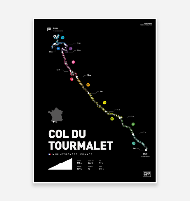 Col Du Tourmalet | Art Print - TrailMaps.co.uk