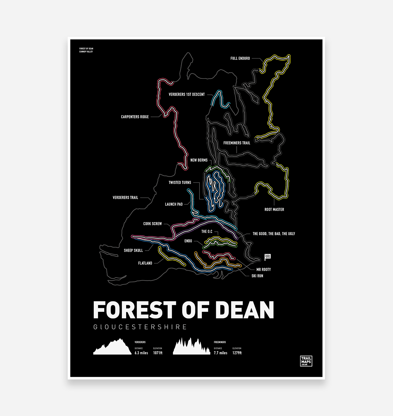 Forest of Dean Art Print - TrailMaps.co.uk