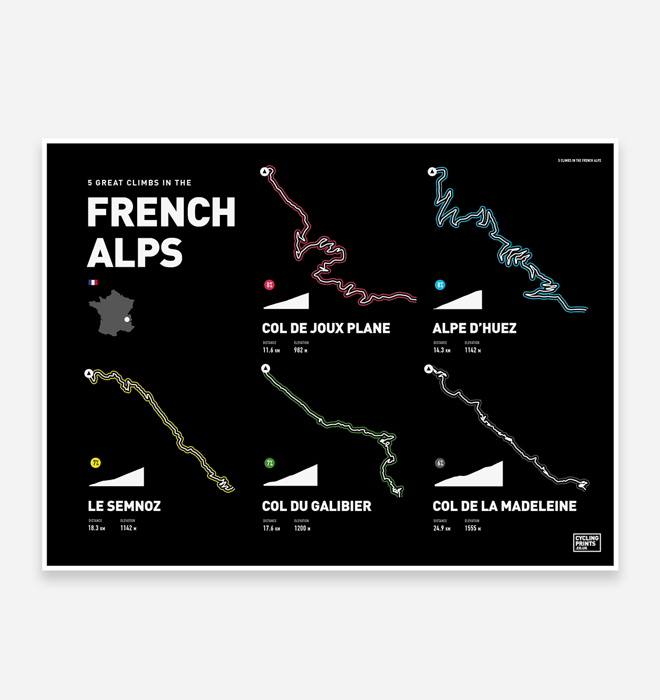 French Alps Road Climbs | Art Print