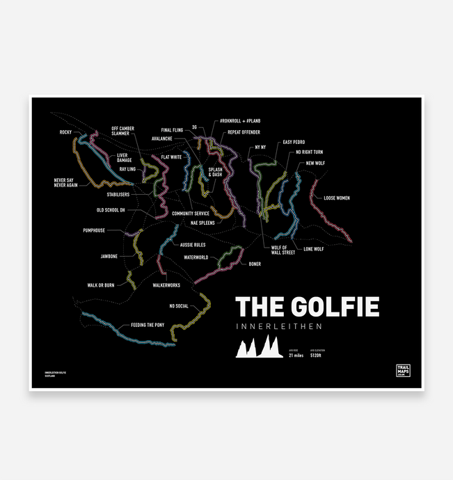 The Golfie | Innerleithen Art Print - TrailMaps.co.uk