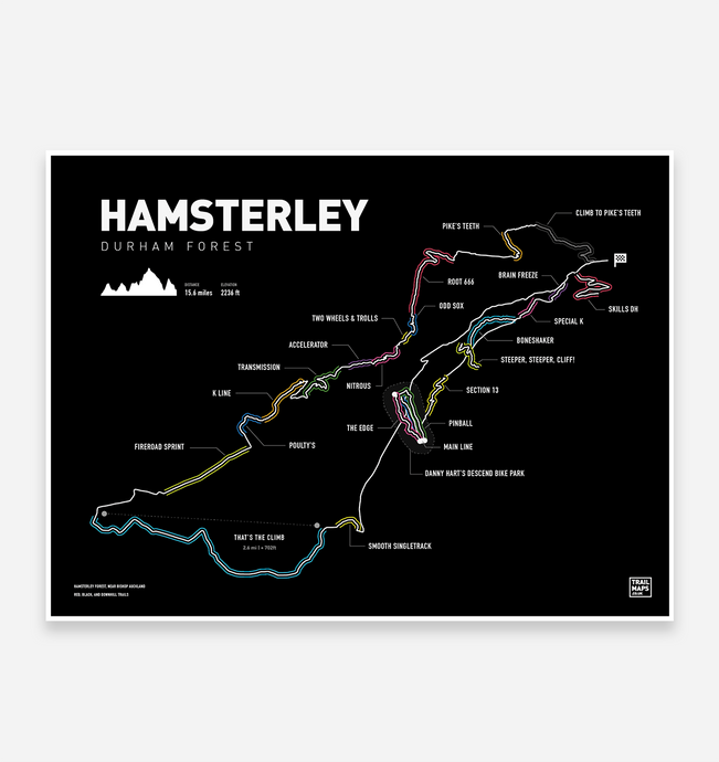 Hamsterley Art Print - TrailMaps.co.uk