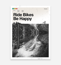 Load image into Gallery viewer, Ride Bikes Be Happy Art Print - TrailMaps.co.uk
