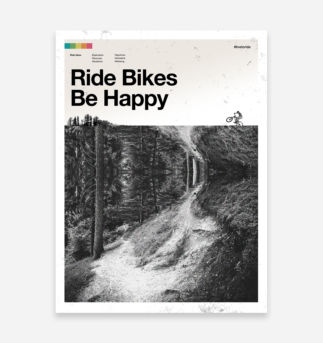 Ride Bikes Be Happy Art Print - TrailMaps.co.uk