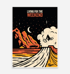 'Living for the Weekend' Art Print - TrailMaps.co.uk